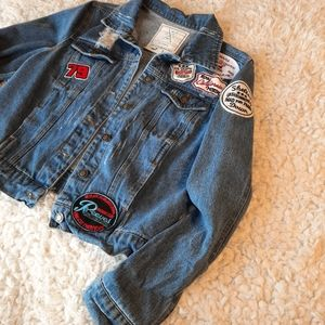 Angel Kiss Distressed Jean Jacket with Patches